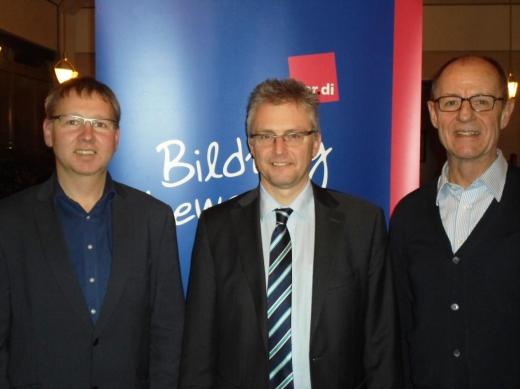 Bei der ver.di-Tagung in Walsrode im Januar 2016. Von links: Ludger Bruns (Vors. ver.di LFG), Frank Henning (SPD), Hartmut Bakker (HPR). © ver.di