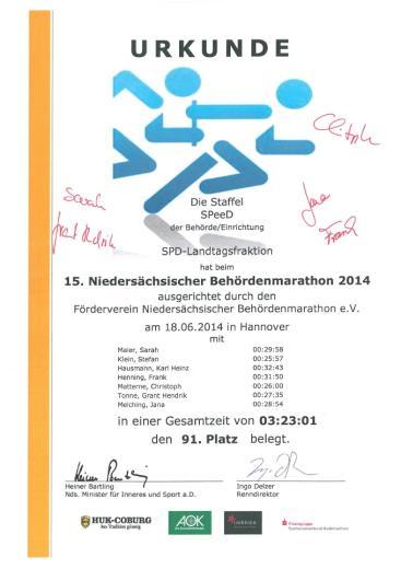 Die Urkunde für das SPeeD-Team mit Unterschriften von Teammitgliedern.