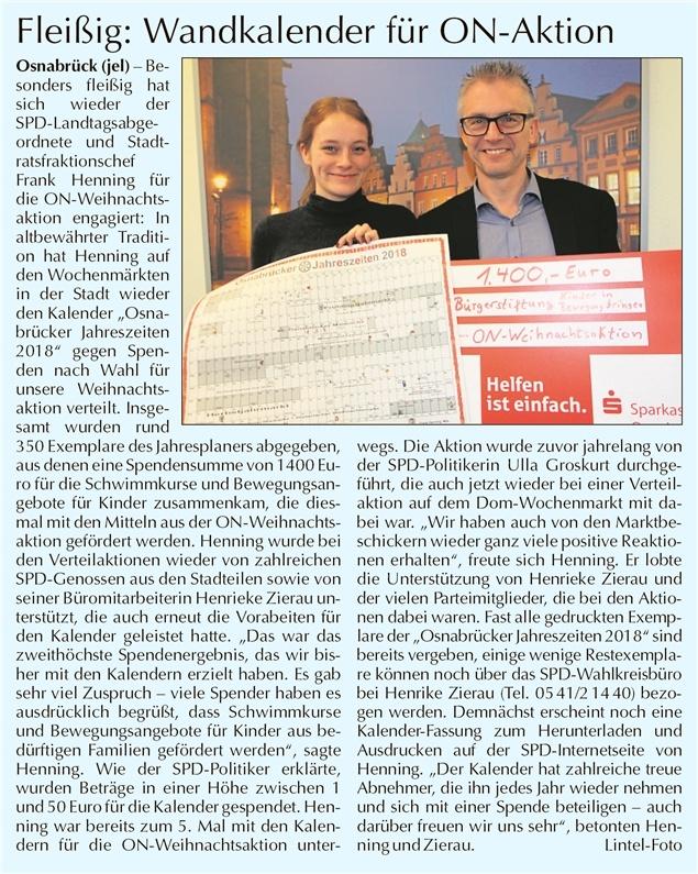Artikel der Osnabrücker Nachrichten (ON) vom 04.02.2018 zum Jahresplaner 2018 (© Jens Lintel)