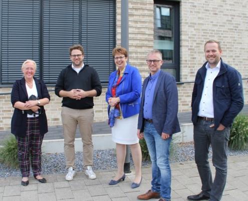 v.l.n.r. MdL Anette Meyer zu Strohen, Seedhouse-Geschäftsführer Florian Stöhr, Ministerin Birgit Honé, MdL Frank Henning und SPD-Unterbezirksvorstandsmitglied Robert Alferink