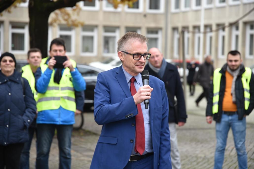 Bei der Demonstration der Mitarbeiterinnen und Mitarbeiter der Gilde Brauerei.
